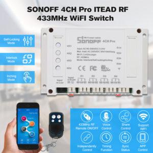 Công tắc wifi 4 kênh thông minh điều khiển từ xa qua wifi SONOFF 4CH - Sonoff 4ch